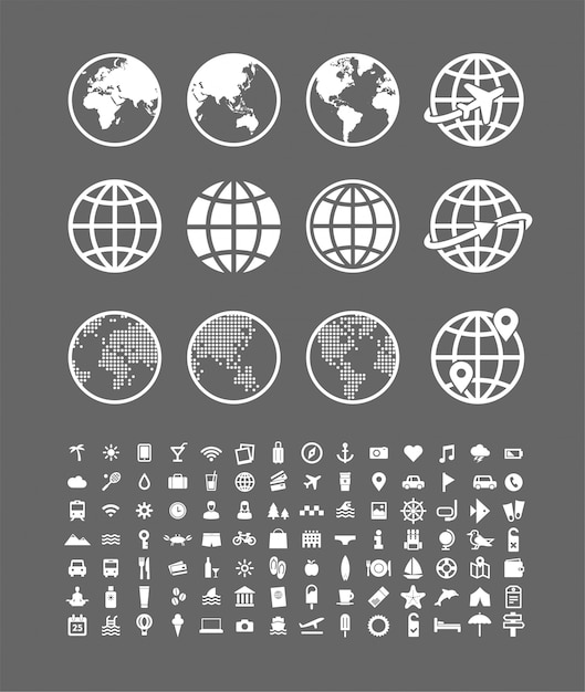 Travel icons set  abstract world globe vector signs