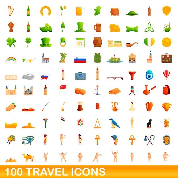 Travel icons set. cartoon illustration of  travel icons  set  on white background Premium Vector