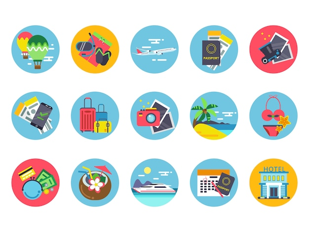 Travel icons set in colored circle shapes. vector illustrations in flat style Premium Vector