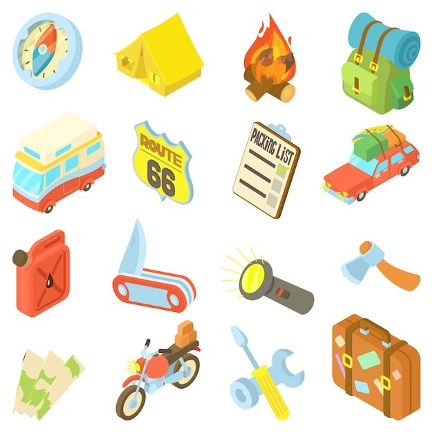 Travel icons set Premium Vector