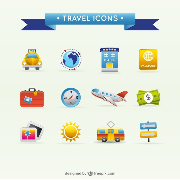 Travel icons Free Vector