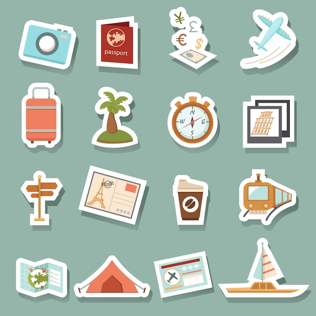 Travel icons Premium Vector