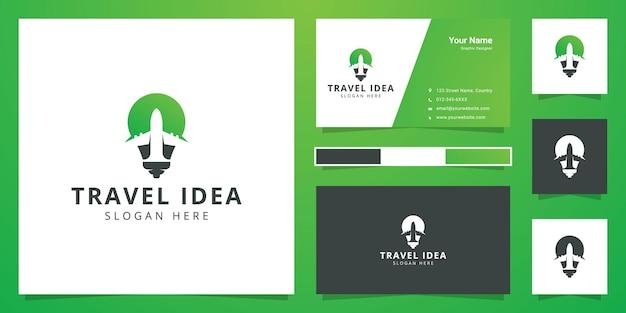 Travel idea negative space logo design Premium Vector