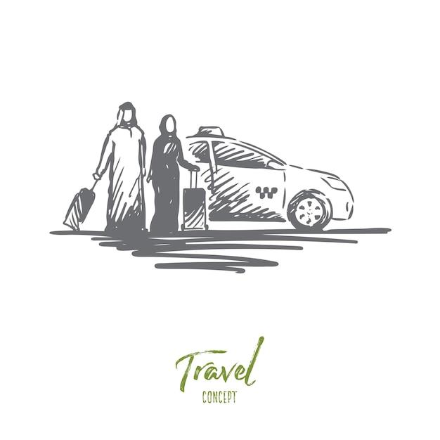 Иллюстрация путешествия в рисованной Premium векторы