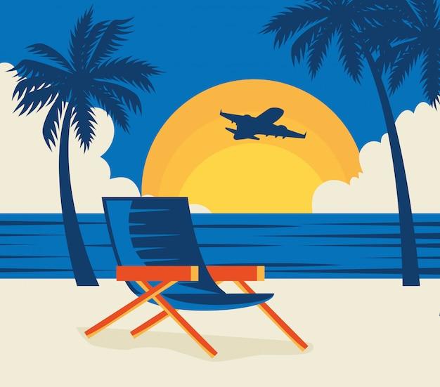 ビーチで椅子と旅行のイラスト 無料ベクター