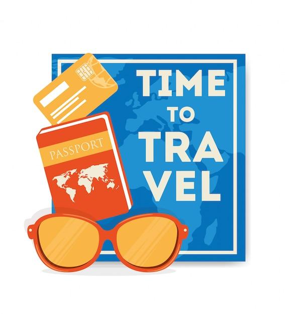 Illustrazione di viaggio con passaporto e occhiali da sole Vettore gratuito