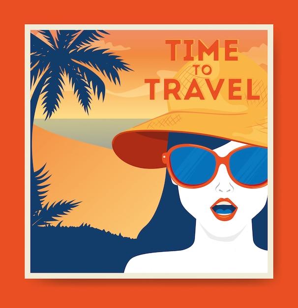 Illustrazione di viaggio con donna e spiaggia Vettore gratuito