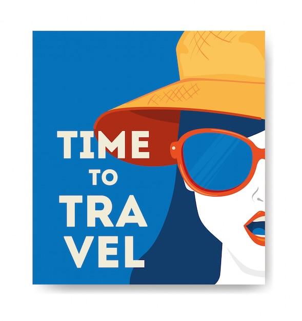 Illustrazione di viaggio con volto di donna Vettore gratuito