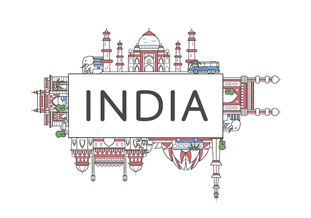 Travel india lettering in linear style Premium Vector