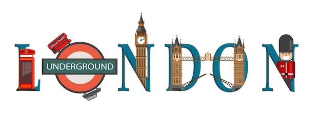 Travel infographic. london infographic, london lettering and famous landmarks Premium Vector