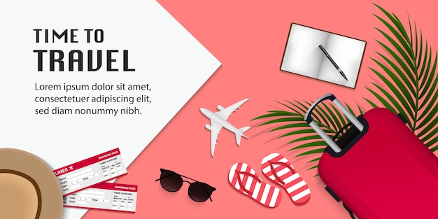 Travel infographic, time to travel illustration with travel items on pink background Premium Vector