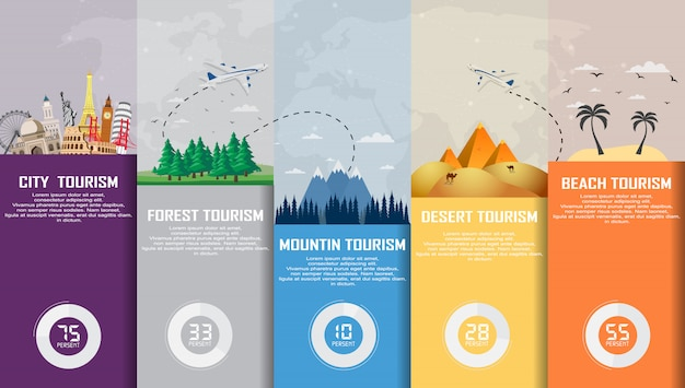 Travel infographic. time to travel, tourism, summer holiday. Premium Vector