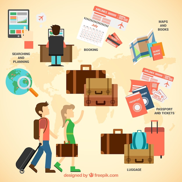 Travel infographic with suitcases Free Vector