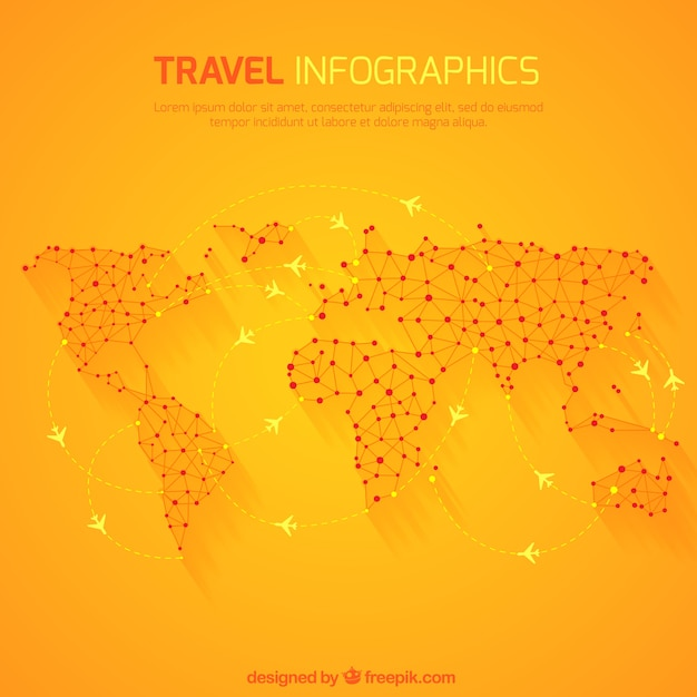 Travel infographic with world map Free Vector
