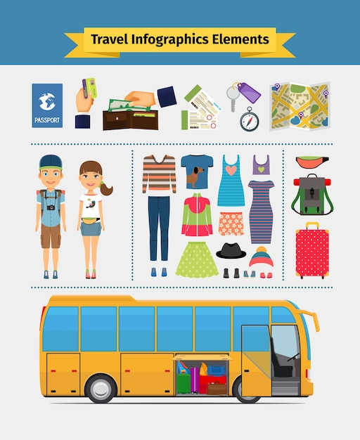 Travel infographics elements. girl and boy, recreation and leisure and journey. vector illustration Free Vector
