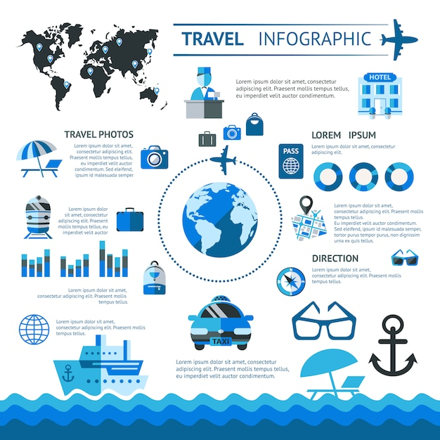 Travel infographics set Free Vector