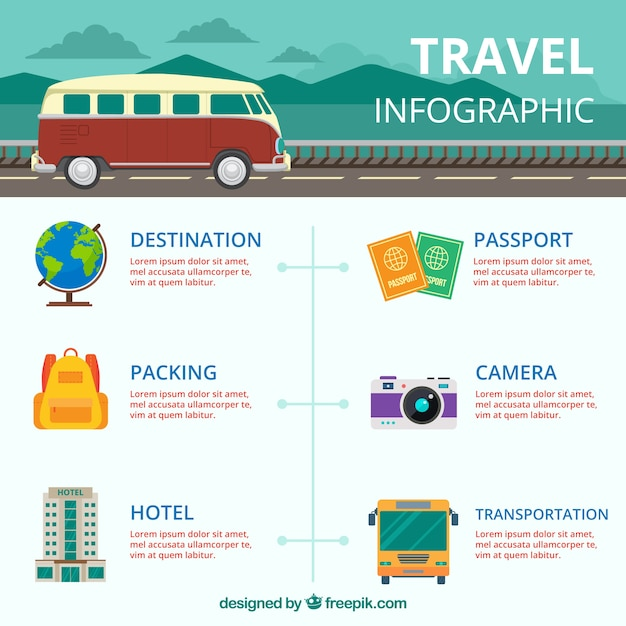 Travel Infographics With Caravan And Other Elements Vector