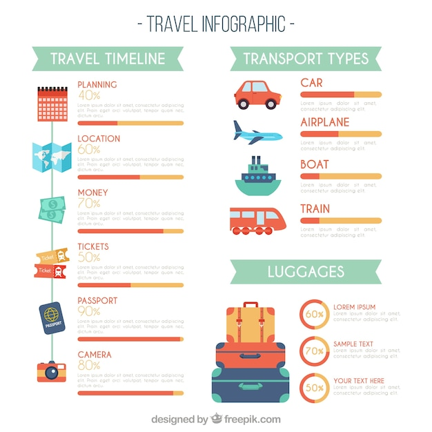 Travel infography in flat design Free Vector