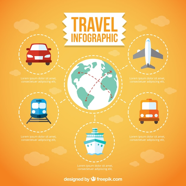 Travel infography with transports Free Vector