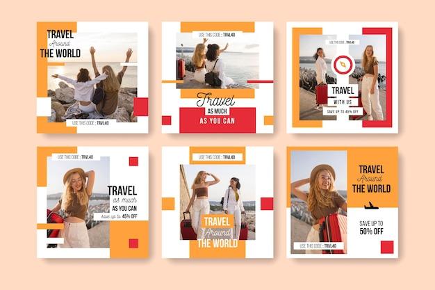 Modello di raccolta post instagram di viaggio Vettore gratuito