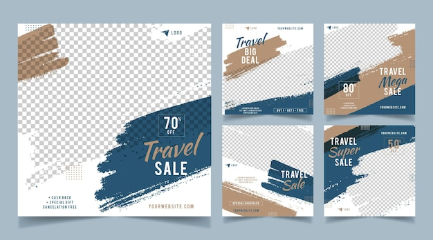 Travel instagram posts with brush strokes Free Vector