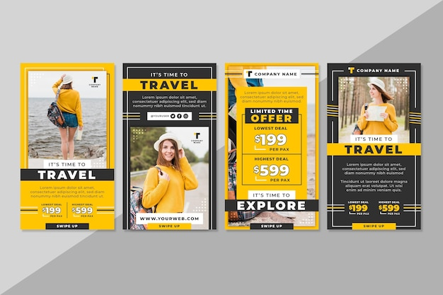 Travel instagram stories collection Free Vector