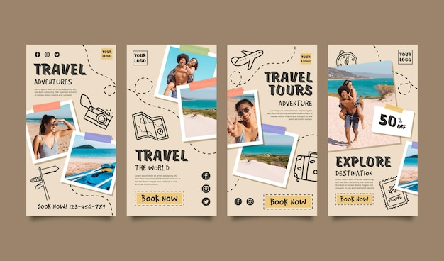 Travel instagram story collection Free Vector