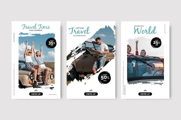 Travel instagram story set with brush strokes Free Vector