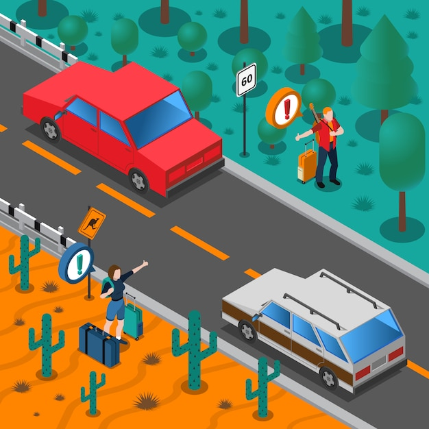 Travel isometric composition Free Vector