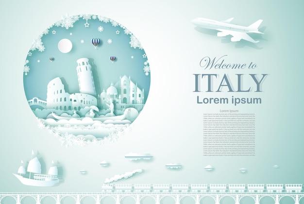 新年あけましておめでとうございますとイタリアの古代と城の建築記念碑を旅行 Premiumベクター