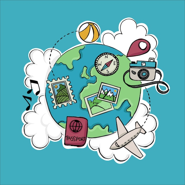 Travel items for world tourism day Free Vector