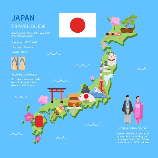Travel japan guide flat map poster Free Vector