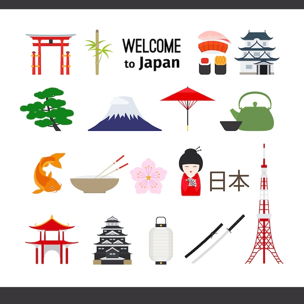 Путешествие по японии Premium векторы
