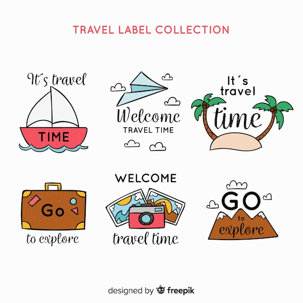 Travel label collection Free Vector