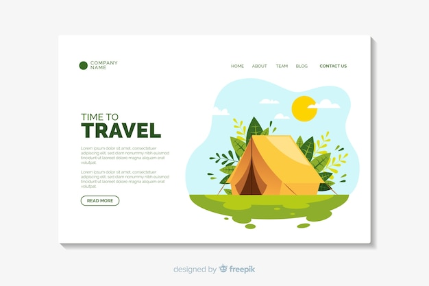 Travel landing page flat design template Free Vector
