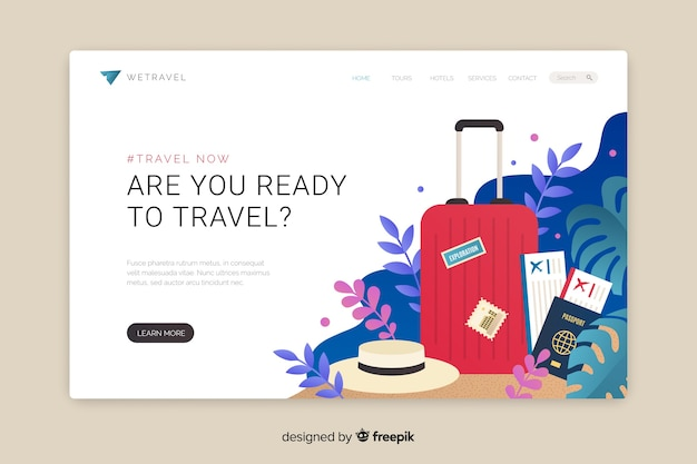 Travel landing page flat design Free Vector