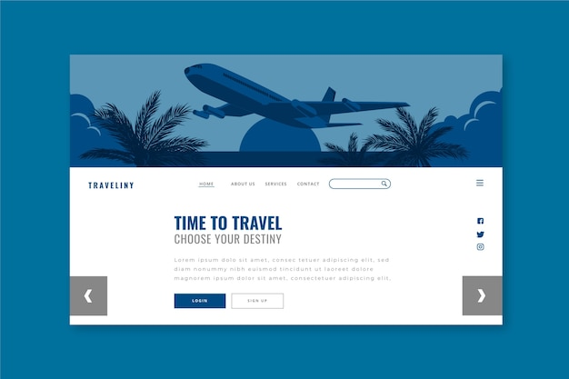 Travel landing page template on classic blue color Free Vector