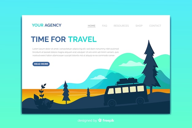 Travel landing page template with natural landscape Free Vector