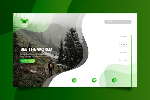 Travel landing page template with photo Free Vector