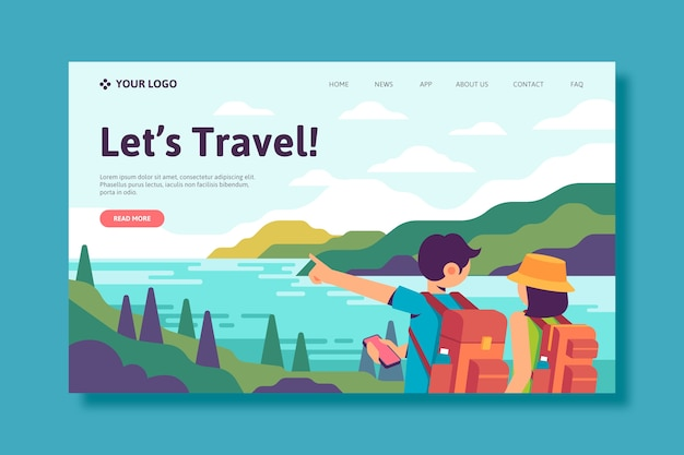 Travel landing page template Free Vector
