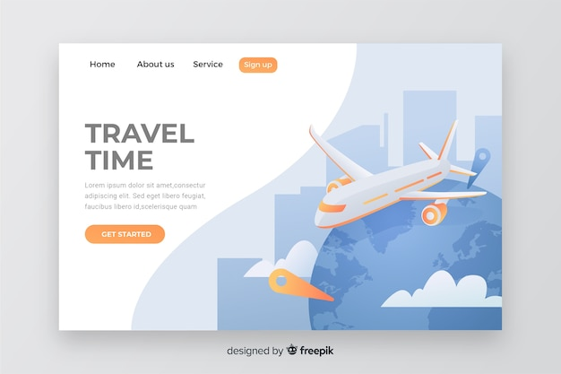 Travel landing page with airplane Free Vector
