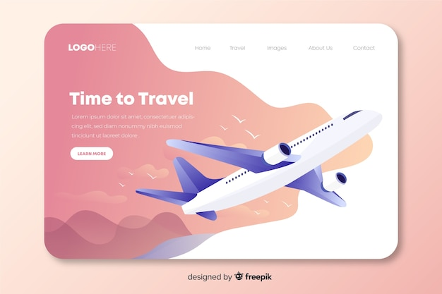 Travel landing page with an airplane Free Vector