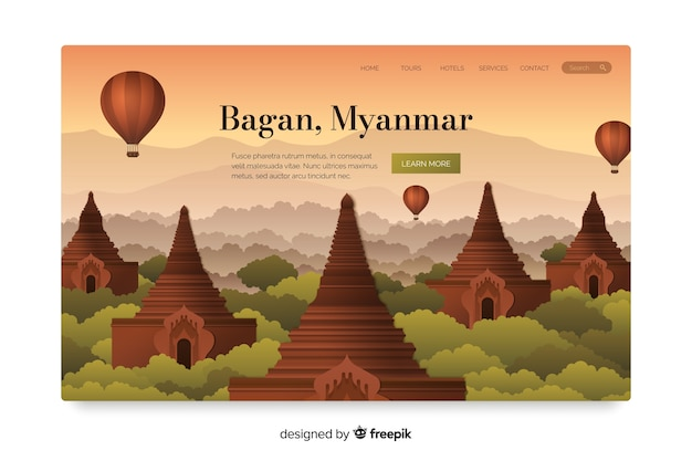 Travel landing page with bagan Free Vector