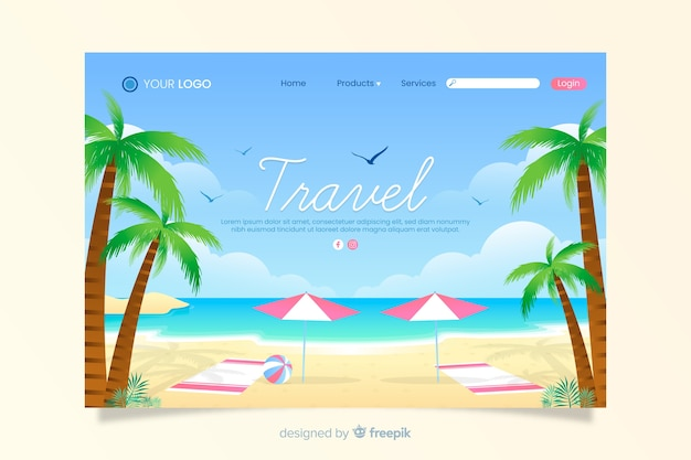 Travel landing page with beach Free Vector