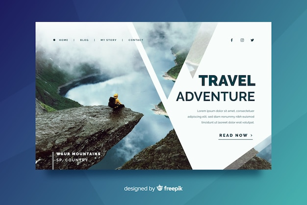 Travel landing page with beautiful landscape Free Vector
