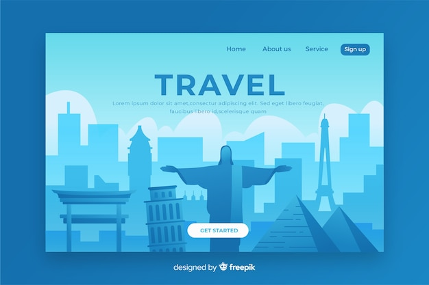 Travel landing page with illustration Free Vector