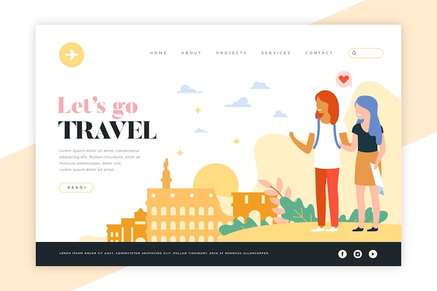 Travel landing page with illustrations Free Vector