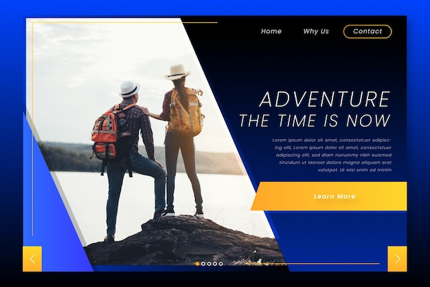 Travel landing page with image Free Vector