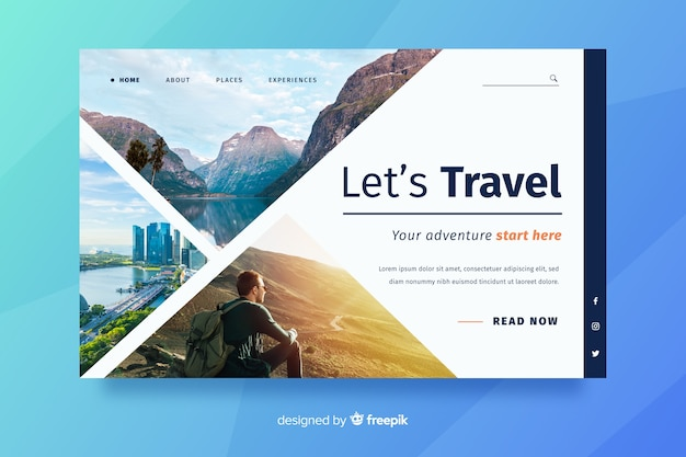 Travel landing page with man looking in the horizon Free Vector