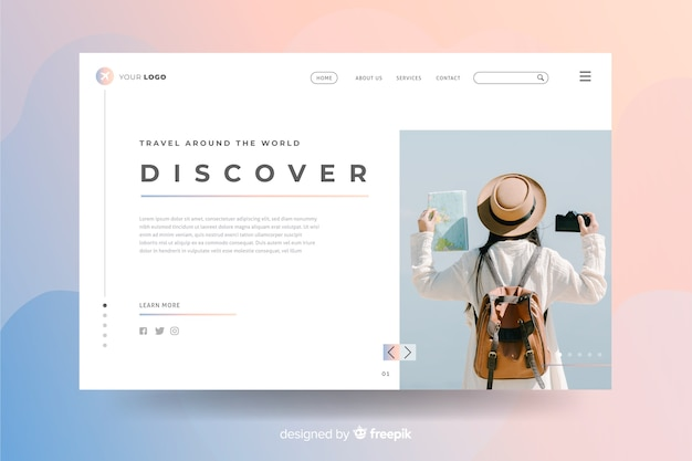 Travel landing page with photo design Free Vector